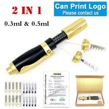 2 en 1 non invasif nébuliseur méso pistolet dinjection hyaluronique stylo 0.3ml & 0.5ml deux têtes or acide hyaluronique stylo lèvre remplissage injecto