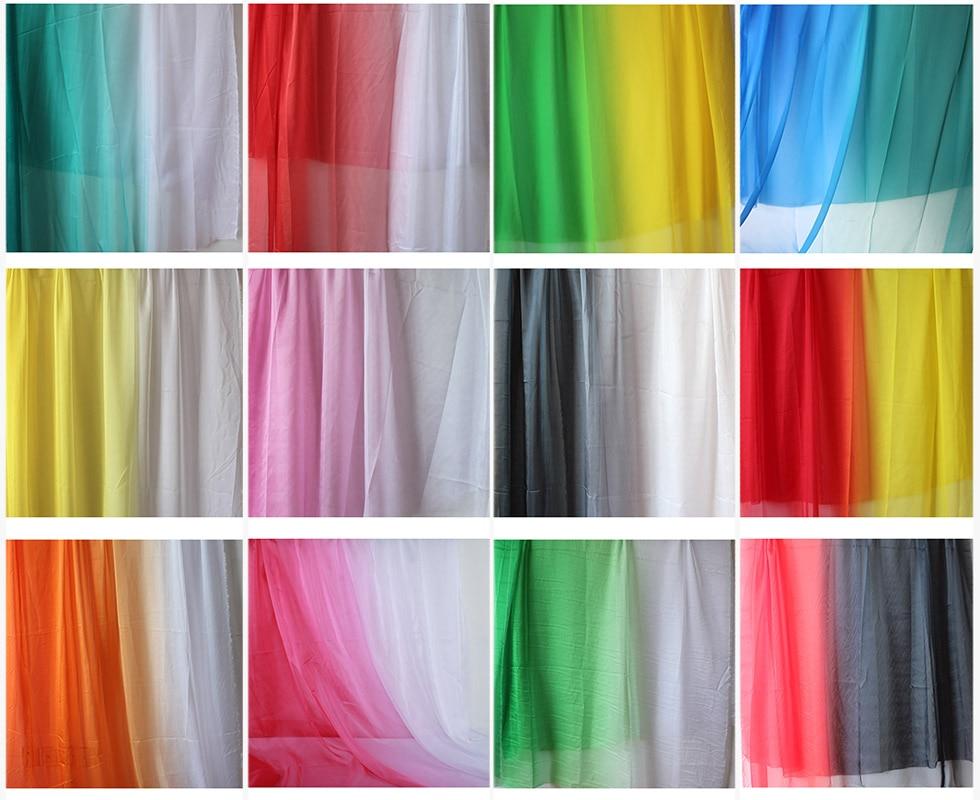 Tecido de chiffon de pouco peso 2-tom ombre gradiente cor 30d sheer chiffon tissu vestido tecido vendido por quintal
