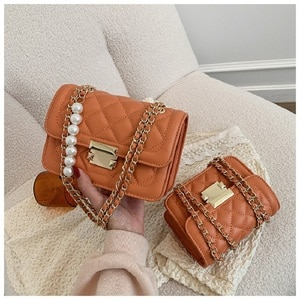 New Women's Bag Shoulder Pearl Chain Linger Small Fragrant Wind Bag Korean Version Of The Quality And Solid Color Tide Bag