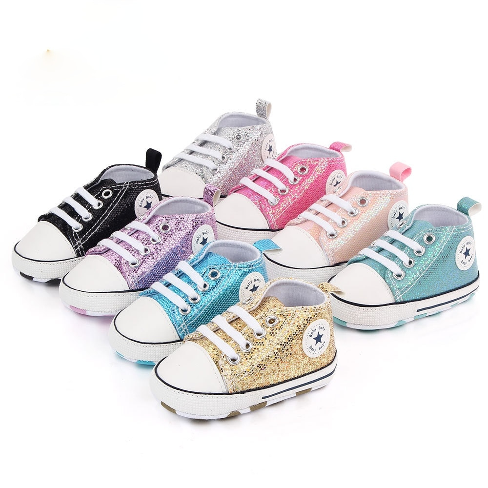 Baby Shoes Boys Girls Sequined 0-1 Year Canvas Prewalker for Newborn Fashion Soft Sole First Walkers