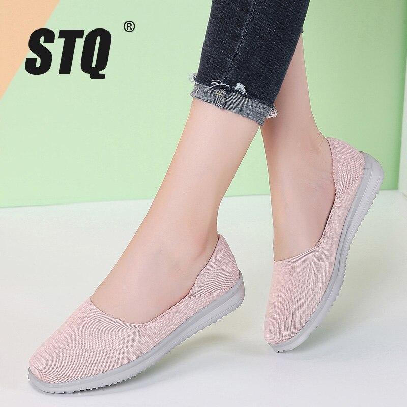 STQ, zapatos planos de otoño para mujer, zapatos de bailarinas planas para mujer, mocasines de Tenis planos, zapatillas, zapatos 7758