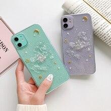 Brillant paillettes 3D licorne Transparent étui de téléphone pour iPhone 8 7 6 6s Plus XS 11 Pro Max X XR doux silicone étoile lune housse