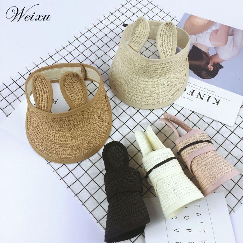 Детская пляжная шляпа с кроличьими ушами для девочек, пустые летние соломенные шапки, детская складная Солнцезащитная шапка, Детская шляпа ...