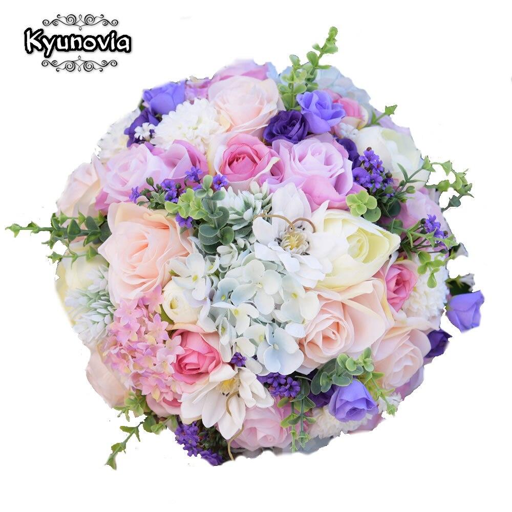 Flores de boda de seda Kyunovia, ramillete de decoración para hogar, ramo de flores para dama de honor, rosas, Hortensia, ramo de novia, 3 tamaños, FE67