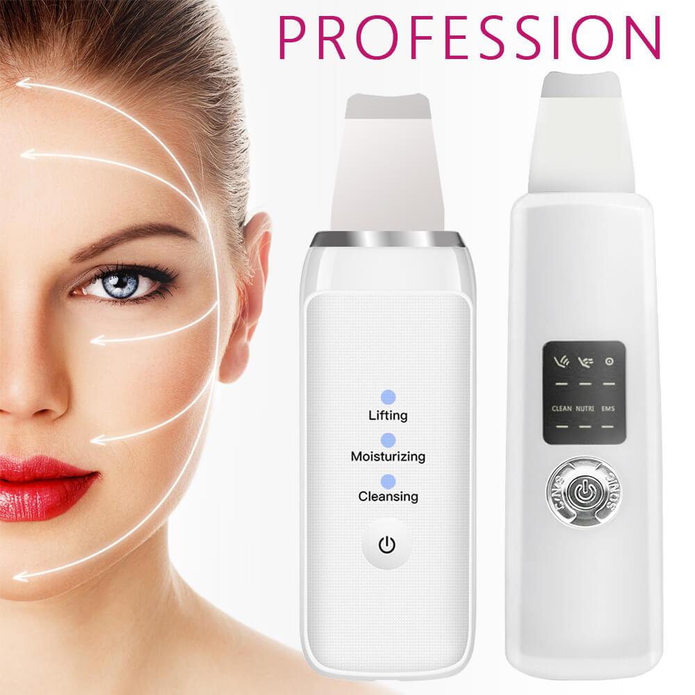 Dispositivo ultrasónico de limpieza Facial, depurador de piel, blanqueamiento Facial, Lifting, Reduce las arrugas, limpiador de poros, conjuntos de espátulas para espinillas