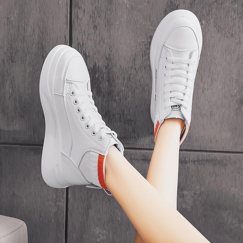 Sneakers autumn and winter ladies mid-cut white shoes fashion lace-up casual women's shoes thick soles enhance personality new