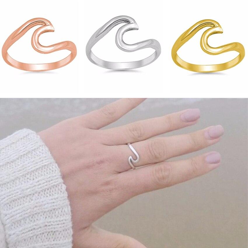 Cxwind moda Bague Femme anillos de dedo de onda geométrica para mujer boda compromiso corazón golpe garra joyería regalo Envío Directo