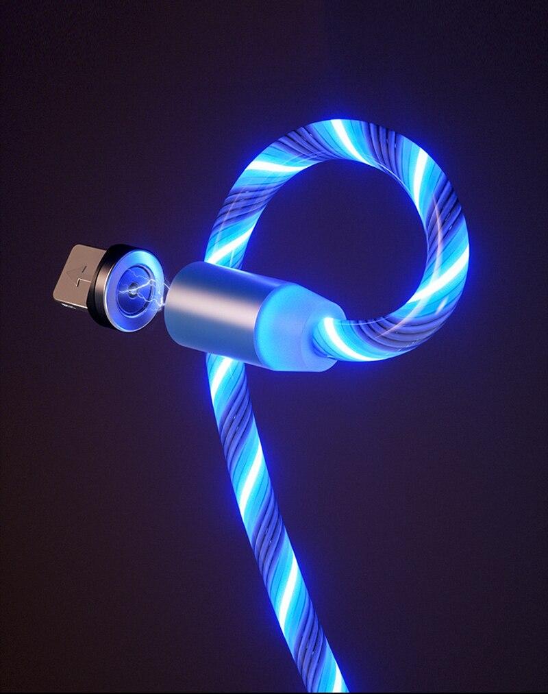 Струящийся свет магнитной Зарядки мобильный телефон кабель для передачи данных для iphone кабель зарядного устройства для Samsung светодиодный кабель с разъемом Micro USB Type-C-2