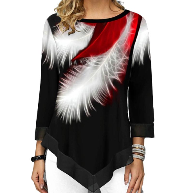 Camiseta estampada casual 3d de pena, gola redonda, streetwear, irregular, solta, plus size, 5xl, primavera, verão, roupas femininas