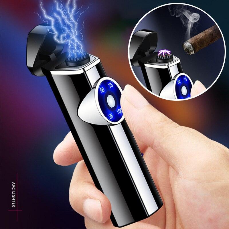 Windpriof-mechero eléctrico Triple con efecto de arco iris, linterna eléctrica recargable sin...
