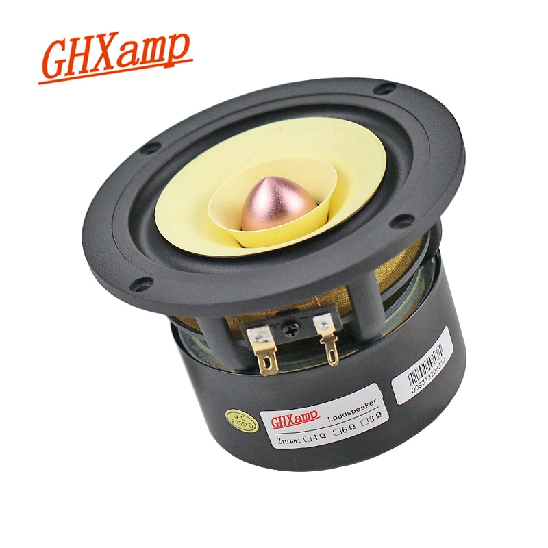 GHXAMP 4 بوصة 25 واط كامل المدى المتحدث HIFI الخيزران الألياف الألومنيوم حوض التريبل Midrange سميكة باس ل مُضخّم صوت مستدير 1 قطعة