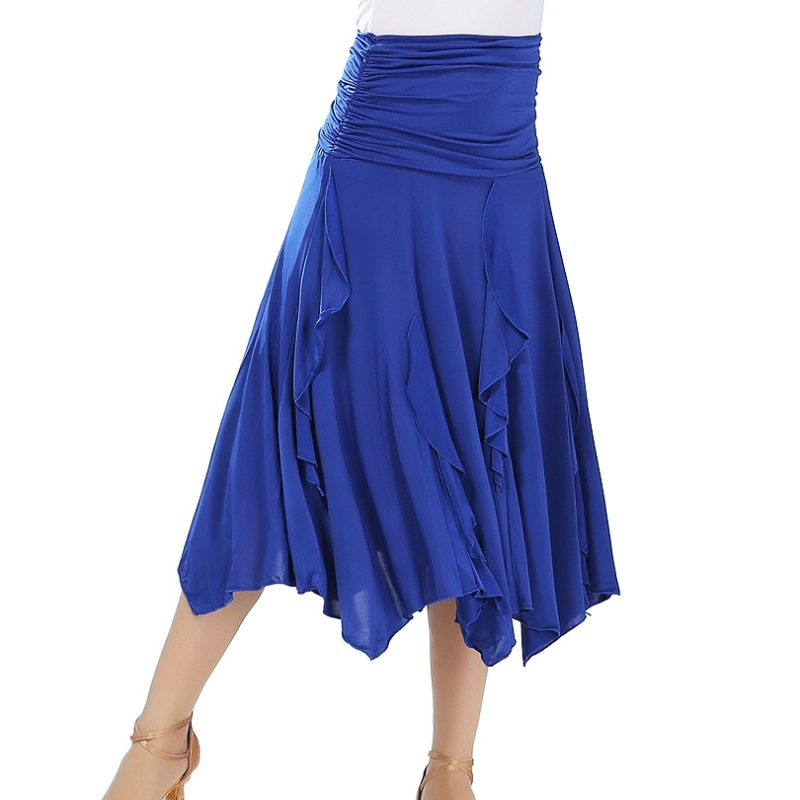 Falda grande de baile de salón de baile falda de moda de Color sólido Irregular de práctica de baile de actuación falda de baile latino