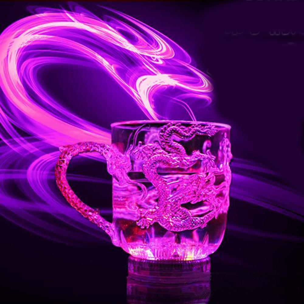 Цветная светящаяся чашка, акриловая чашка для воды, жидкая Индукционная вспышка, меняющая цвет чаша с драконом, вечерние, свадебные украшения