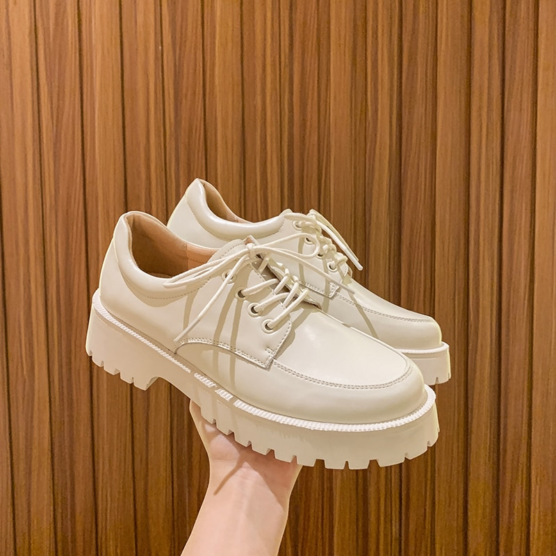 weideng new autumn solid color genuine leather platform breathable leisure white and black comfortable 2017 loafers women shoes AIYUQI Women Shoes Genuine Leather New Spring British style White Women's loafers Round Toe Casual Platform Shoes Women