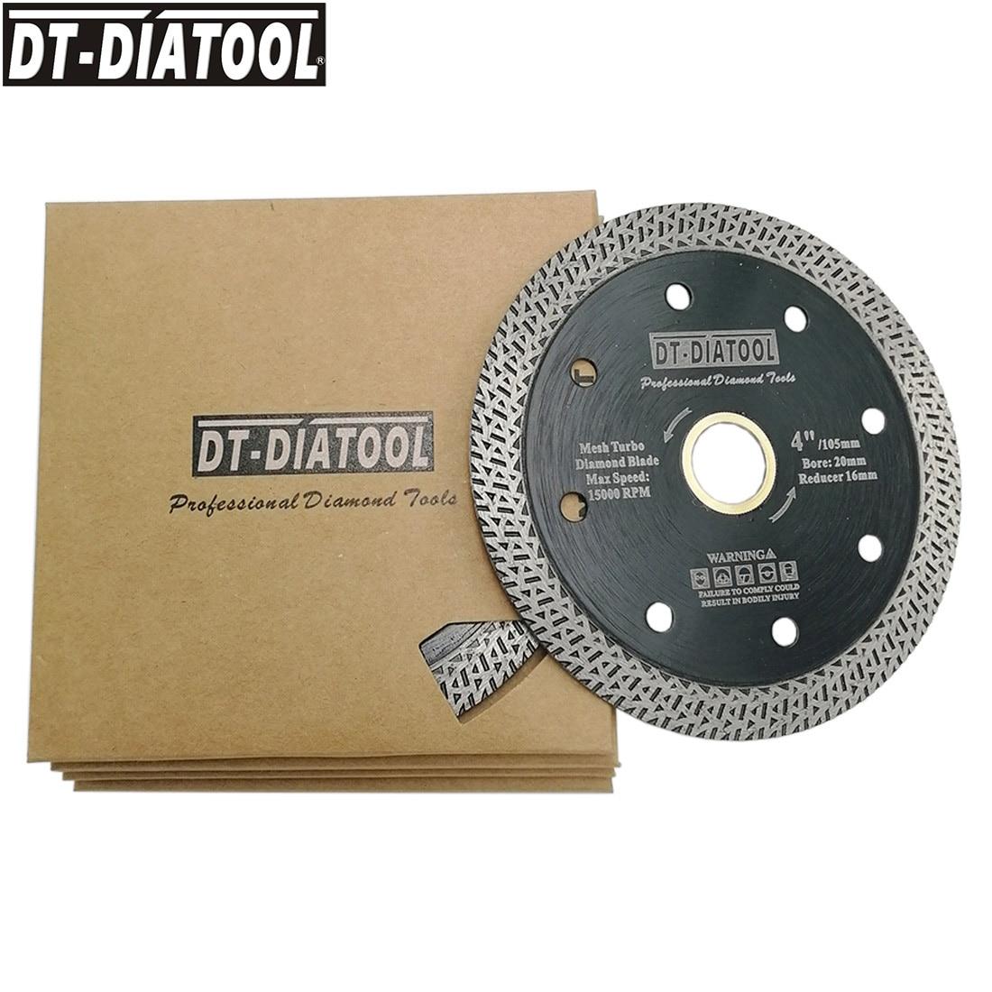 DT-DIATOOL 5pcs/pk Dia 4/4.5/5 Mesh Turbo Diamond Saw Blade Cutting Disc for Hard Material Granite Marble Cutter