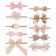10 unids/lote diadema de nailon con lazo mixto para niñas accesorios para el cabello para niñas