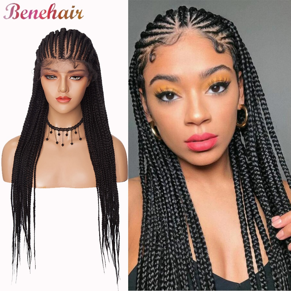 Benehair 30 inches Long Box Braided Crochet Braids Wigs Synthetic Lace Front Wig With Baby Hair Black Brown Red For Black Women