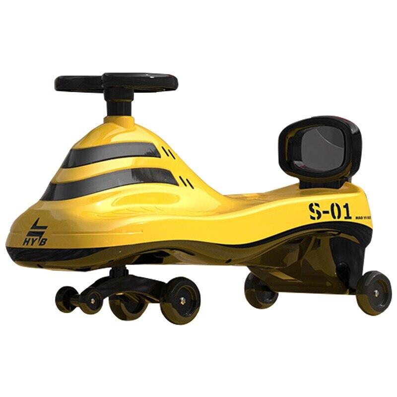 Strolex Stl9668 الملتوية سيارة ، واحد عاما طفلة ، 1 فتاة ، 2 انزلاق ، مكافحة التمديد العالمي عجلة الكبار يمكن الجلوس الأصفر