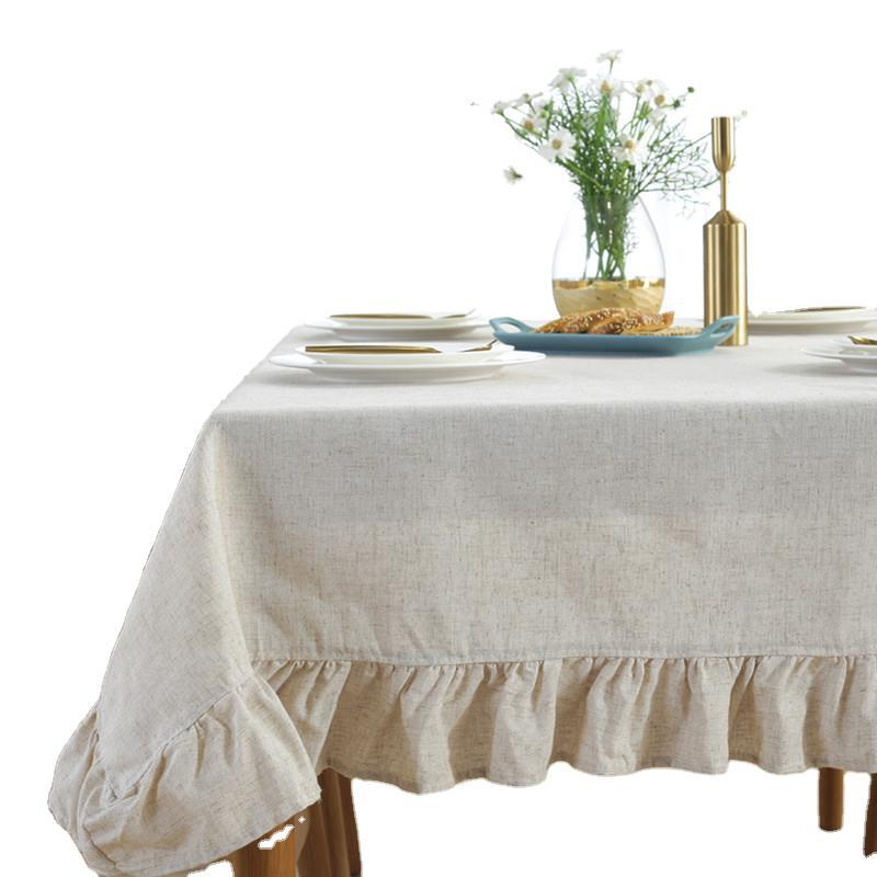 Home round cotton linen tablecloth dining table dining room tea table New Year Christmas round table birthday tablecloth  - buy with discount