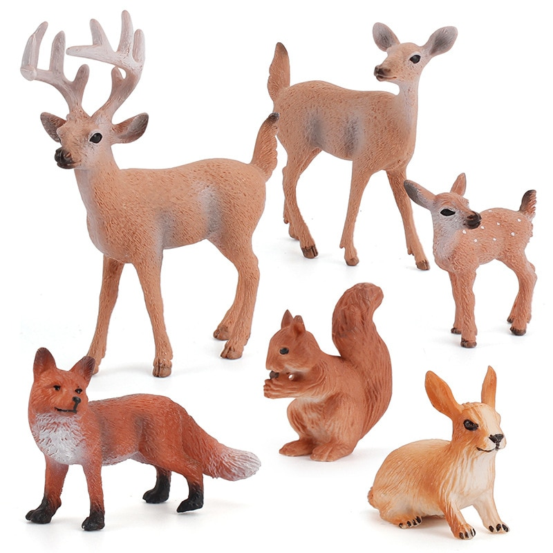 6pc/set Forest Animals Figures Miniature Toys Cake Toppers (Deer Family, Fox, Rabbit, Squirrel) Cake accessories hot sale forest animals happy daily life squirrel fox deer good friends party fairy cartoon tales pillow case