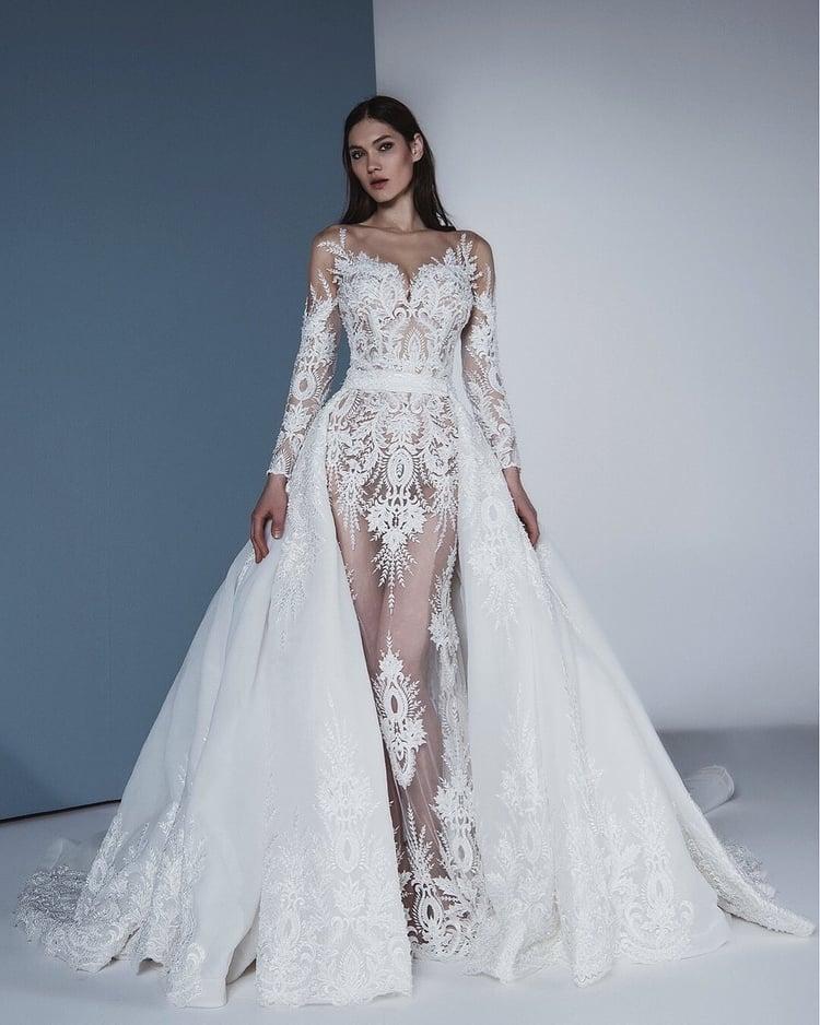 HA031 Elegant lace appliques wedding dress detachable train bridal sweet heart neckline illusion shoulder wedding dress