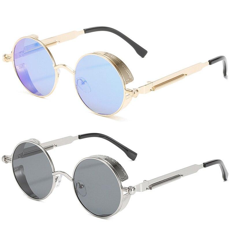 Модные металлические солнцезащитные очки в стиле панк, круглые очки в стиле стимпанк, классические цветные полые Солнцезащитные очки в сти...