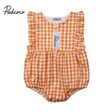 Pudcoco Newborn Infant Baby Girl Ruffle Plaid Romper Sleeveless Jumpsuit One Piece Outfits Sunsuit T