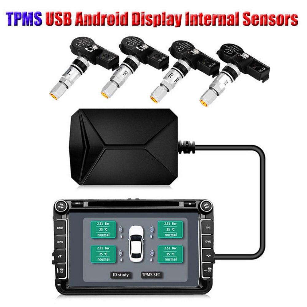 Sistema de supervisión de presión de neumáticos 5V, alarma con pantalla LCD inteligente para coche, sistema de sensores internos, Radio para coche, 4 sensores de advertencia