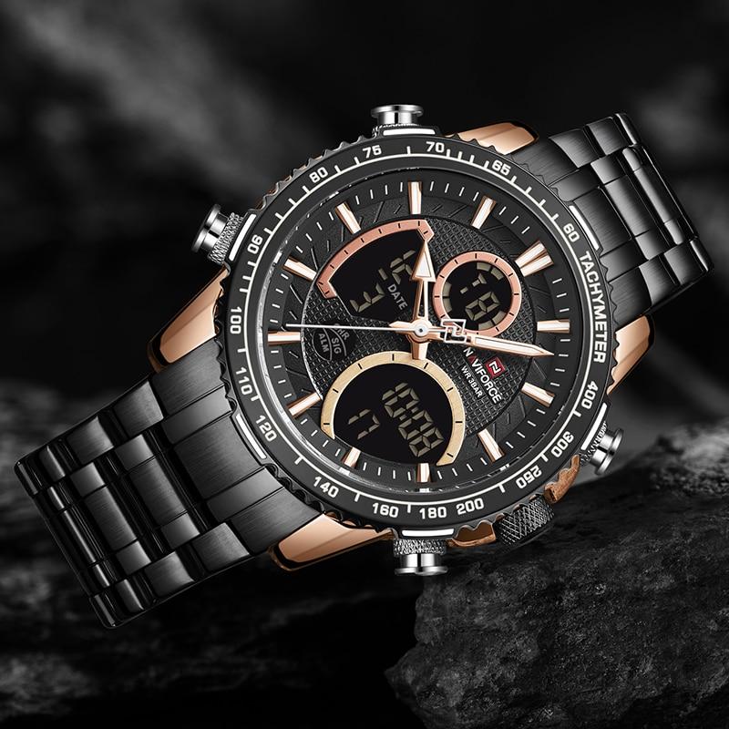 Militar do Esporte Relógio de Pulso Naviforce Negócios Marrom Display Duplo Relógio Masculino Homem Luxo Quartzo Led