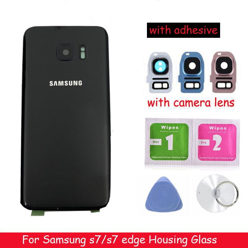 2pcs New Rear Panel Glass Battery Back Cover For Samsung Galaxy S7 G930 / S7 edge G935 Battery Cover Glass With Camera Lens enlarge