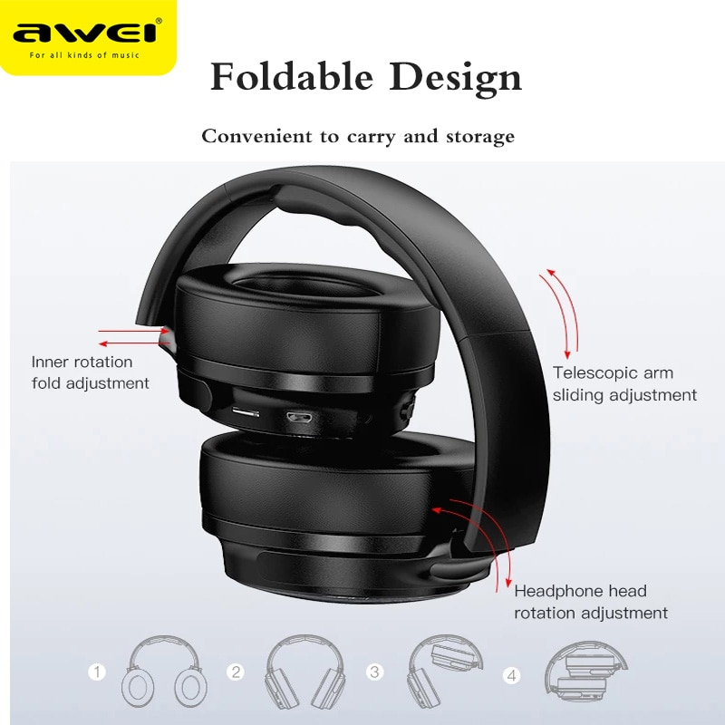 2021 AWEI Bluetooth 5.0 Gaming Headphones Wireless Wired Stereo Handsfree Headset Active Noise Cancelling Bluetooth Earphones enlarge