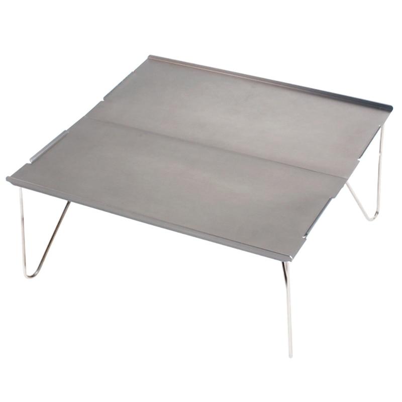 Picnic Mini ligero Durable Camping muebles portátil al aire libre senderismo individual Escritorio de aluminio placa plegable barbacoa (gris