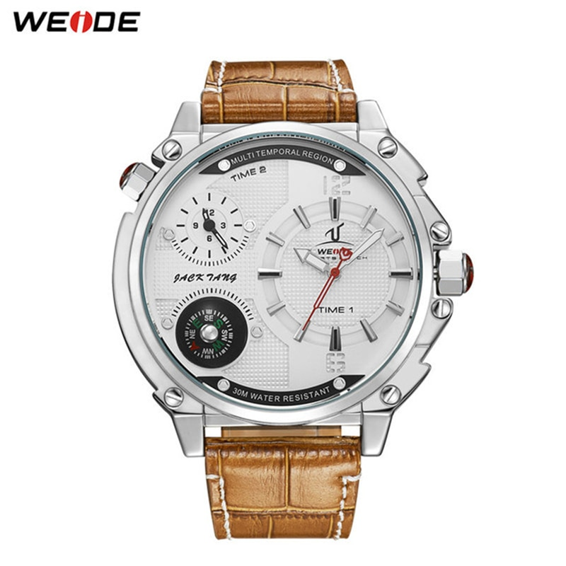 WEIDE Top Luxury Brand Mens Sports Model Casual Hour Quartz Movement Brown Leather Strap Wrist Watches Relogio Masculino Clock weide men watches sports military strap white dial movement analog clock quartz wristwatches waterproof relogio masculino reloj