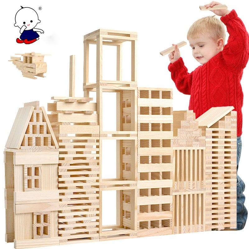 100 قطعة/المجموعة خشبية مونتيسوري التعليمية لعب DIY خشبية منشئ الأطفال لغز اللبنات التعليم المبكر لعب