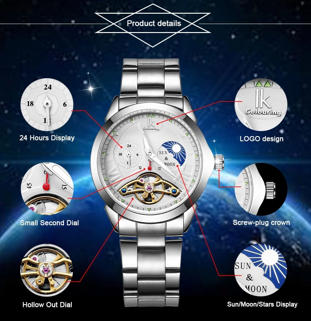 Reloj de mujer IK Moon Phase Function Luxury Top Brand Men's Watch 24 hour Steel Band Gold Skeleton Automatic Mechanical clock