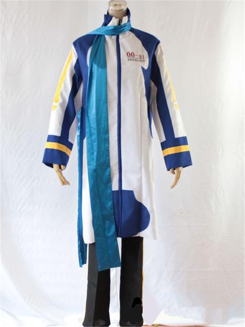 Uniforme japonés de alta calidad de Anime VOCALOID KAITO, traje de Cosplay para hombre, Top + Pantalones + bufanda