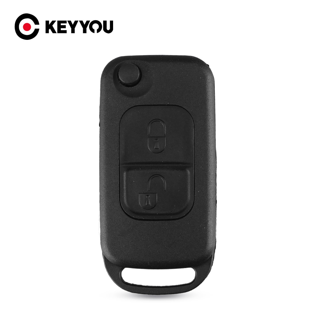 Keyyou 2 pçs virar dobrável escudo do carro remoto chave fob caso 2 botão para mercedes benz e113 a c e s w168 w202 w203 frete grátis