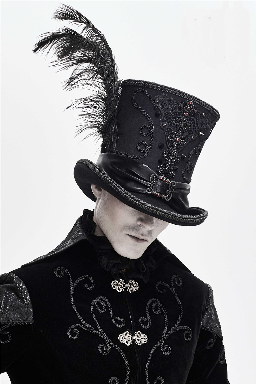 Gothic Vintage Top Hat Men Top Steampunk Cosplay Punk Party Caps Feather Decoration Dropshipping High Quality New