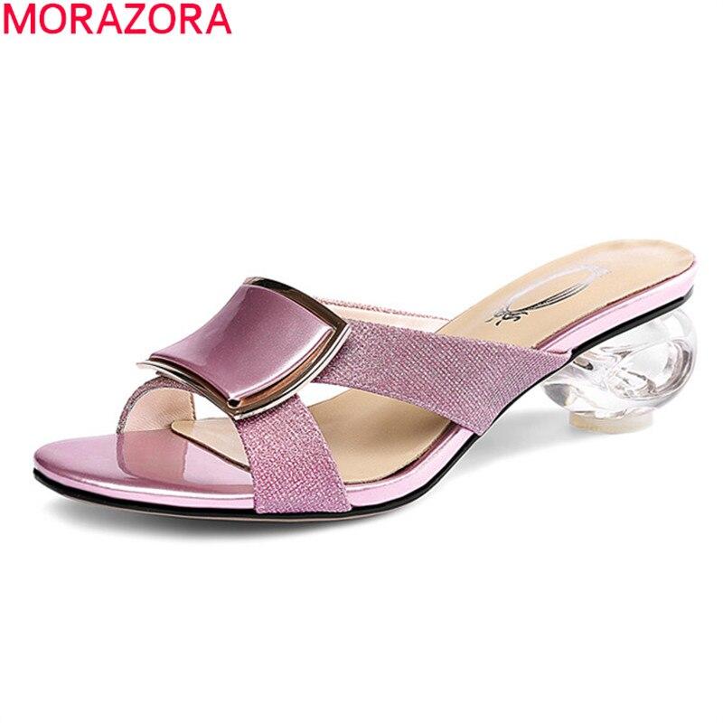 MORAZORA 2021 حجم كبير 34-43 أحذية الحفلات الموضة شفافة سميكة الكعوب ساحة تو أحذية مفتوحة النساء الشظية الوردي
