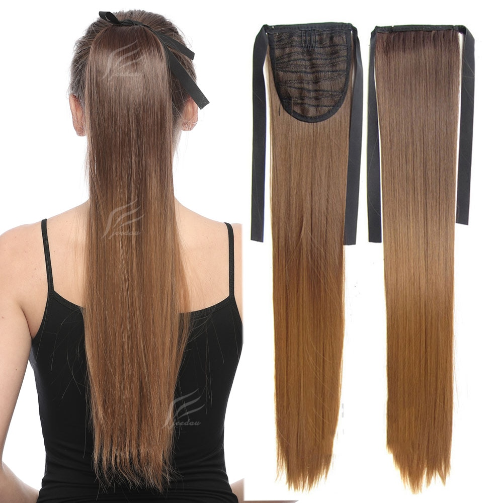 jeedou Straight Hair Rainbow Ombre Color 22inch 55cm 90g Ribbon Ponytail Extensions Synthetic Black Pink Natural Ponytails