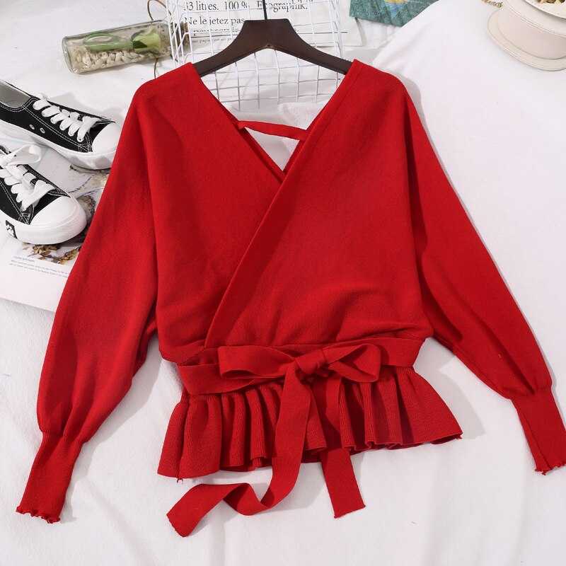 2021 Summer Women Long Sleeve V-Neck Knitted Bandage Strap Sweater Coat Shirt Lady Short Elastic Slim Waist Pullover Blouse Tops