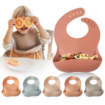 1pc Silicone Bibs For Kids Newborn Baby Feeding Tableware Waterproof Baby Bibs For Toddler Breakfast Feedings
