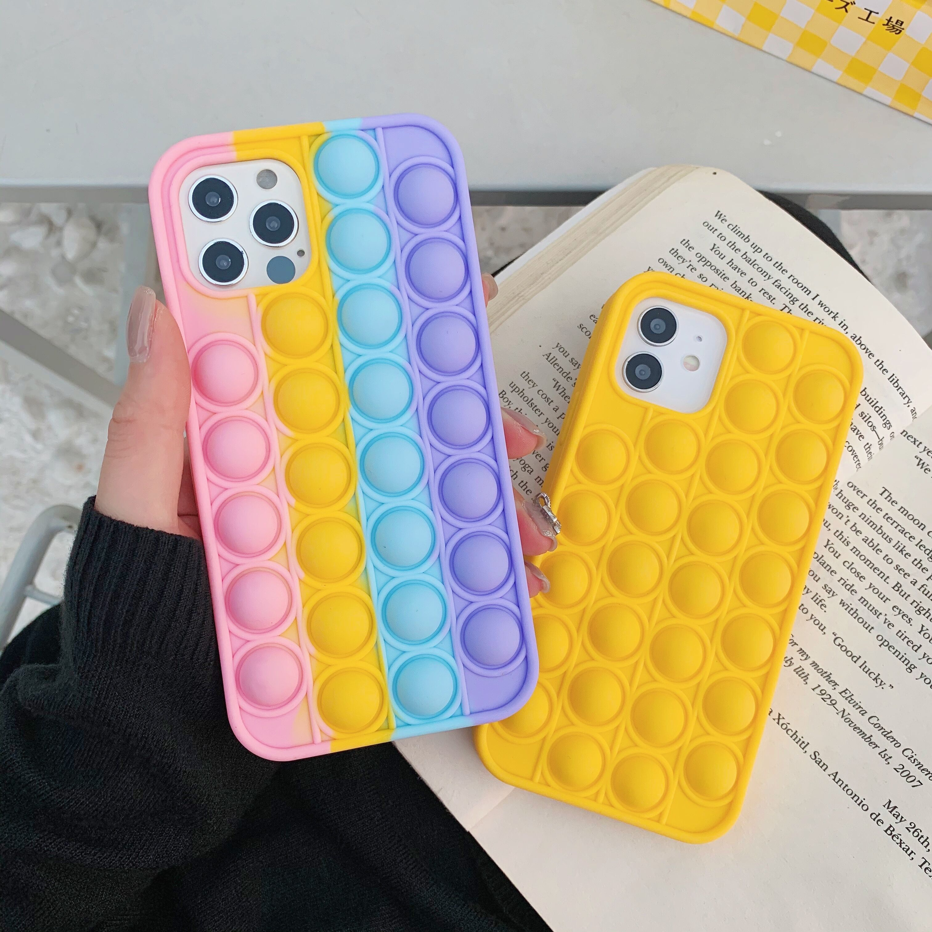 Fashion Rainbow Color shockproof Silicone Phone Case For Iphone 7 8 Plus X XR XS 11 12 Pro Max Back