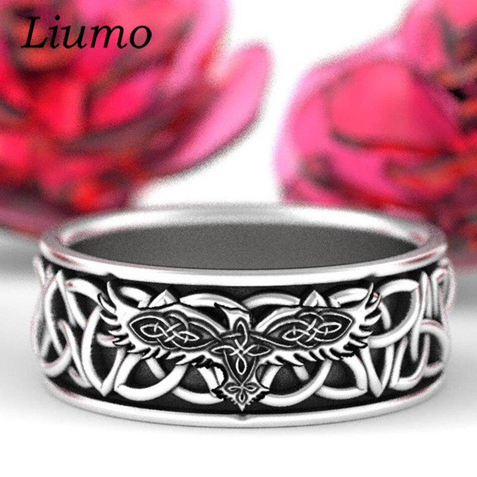 Liumo vintage prata cor celta nó águia lobo masculino liga anéis lr1193