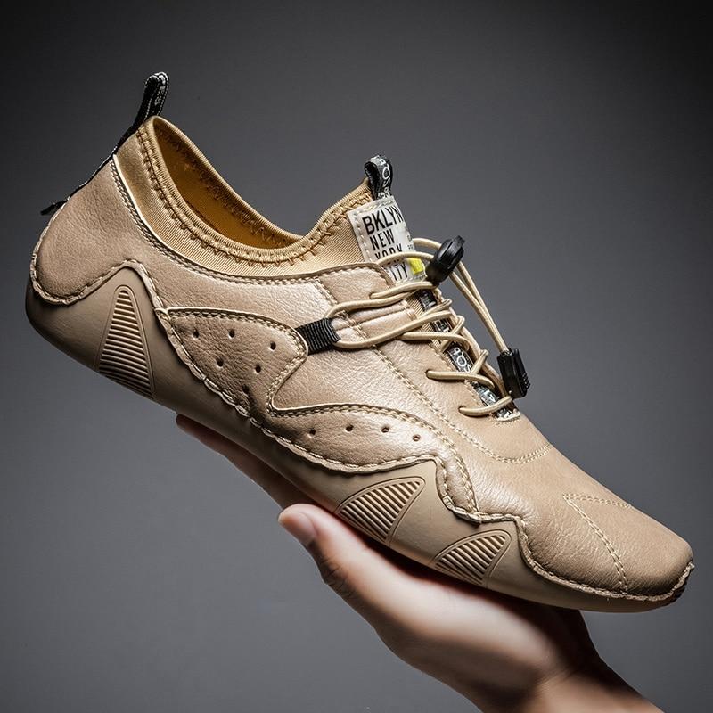 حذاء موكاسين كاجوال برباط للرجال ، حذاء كاجوال من الجلد ، مسطح ، عصري