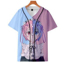 2020 nouveau Re Zero 3d imprimé baseball t-shirt hommes femmes enfants garçons Rem et Ram anime t-shirtbrand streetwear t-shirt vêtements
