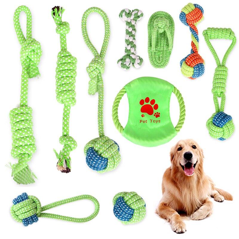 Gran oferta bola al aire libre formación perro juguetes 1PC de mascotas de juego de alta calidad cuerda verde limpios los dientes Popular mordedores de juguete para perros