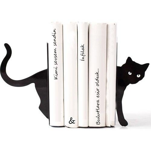 Decorative Animal Cat Metal Bookends Book Holders Non-skid Bookshelf Duty Iron Art Black Stand Support Magazines CD Organizer