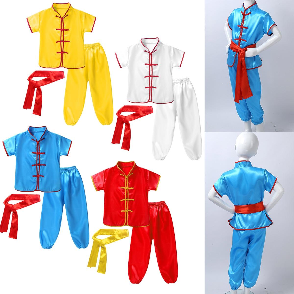 Новинка; Костюм Ушу; Детская традиционная одежда в китайском стиле; Детская униформа для боевых искусств; Костюм кунг фу; Комплект для сцены для мальчиков и девочек|Комплекты одежды| | АлиЭкспресс