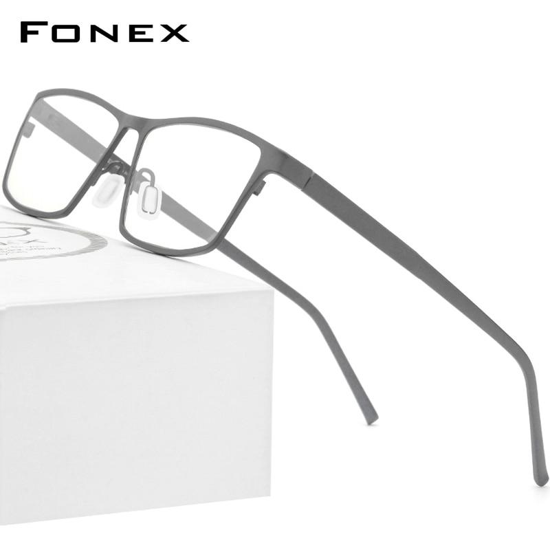 إطار نظارات FONEX من التيتانيوم الخالص للرجال, نظارات 2020 بوصفة طبية للرجال ، نظارات مربعة لقصر النظر ، نظارات بصرية 871